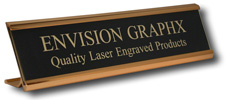 """Aluminum Desk Holder,  Custom Engraved up to two lines,  Plate measures 2""""x10"""""""