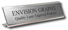 """Aluminum Desk Holder,  Custom Engraved up to two lines,  Your Choice of 2""""x8"""" or 2""""x10"""""""