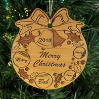 Personalized, Christmas ornament, light weight acrylic, silver cord, tree, family, love, holiday, wreath