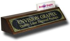 Gray Designer Brass Walnut Wedge w/ Card Holder