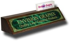 Green Designer Brass Walnut Wedge w/ Card Holder