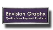 Framed Lavender Name Badge with White Letters