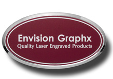 Oval Framed Burgundy Name Badge with White Letters