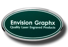 Oval Framed Green Name Badge with White Letters