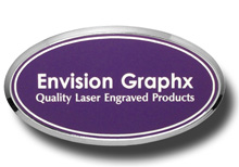 Oval Framed Lavender Name Badge with White Letters