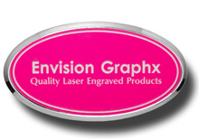 Oval Framed Hot Pink Name Badge with White Letters