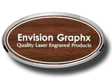 Oval Framed Walnut Name Badge with White Letters