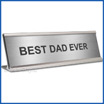 Funny Desk Name Plate Best Dad Ever Silver Father's Day Gift