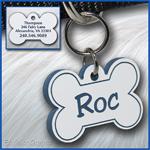 Pet ID Tag, white, blue