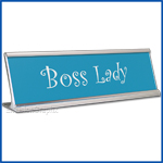 Funny Desk Name Plate Boss Lady Silver