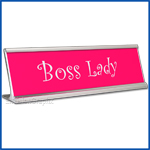 Funny Desk Name Plate Boss Lady Hot Pink