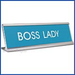Funny Desk Name Plate Boss Lady Baby Blue
