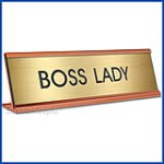 Funny Desk Name Plate Boss Lady Gold