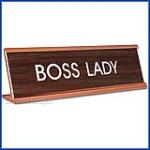 Funny Desk Name Plate Boss Lady walnut