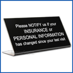 Free Standing table top desk sign Insurance change