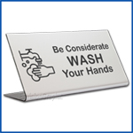 Free Standing table top desk sign All Employees Must Wash Hands