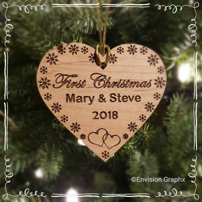 Personalized custom engraved first christmas ornament, wood heart shape ornament, couples first christmas ornament