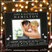 custom leather frame, wedding frame, 5x7