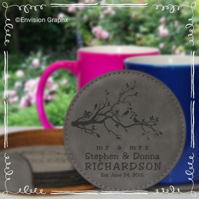 leatherette round coasters set, personalized coasters, custom engraved coasters, couple gift, housewarming gift