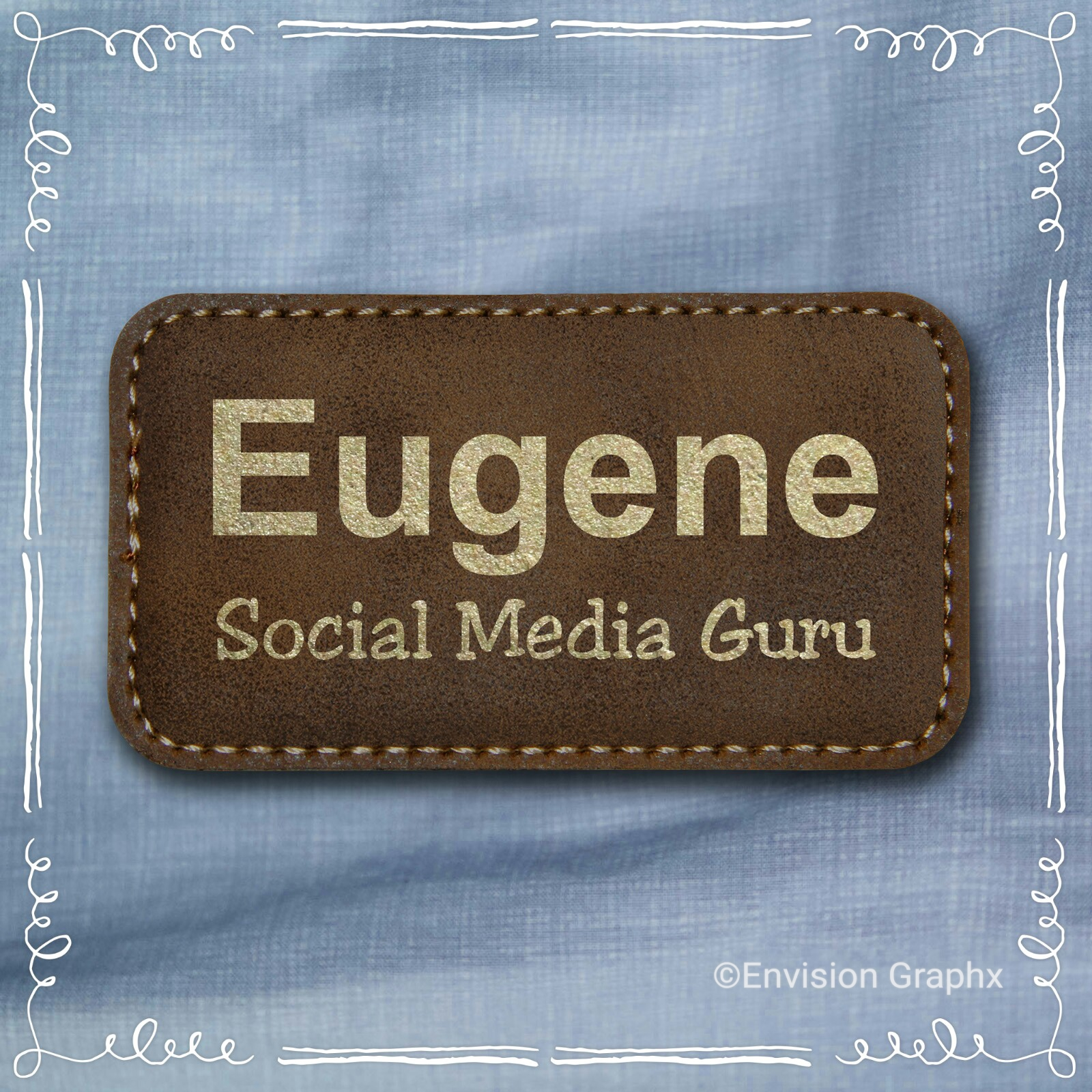 LEATHERETTE RUSTICO NAME BADGE - Leatherette Rustic Badge
